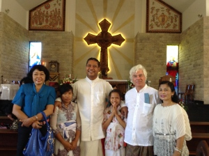 At St. Sisillya Catholic Church with Indra, ashram members Kadek and Komang and choir members.