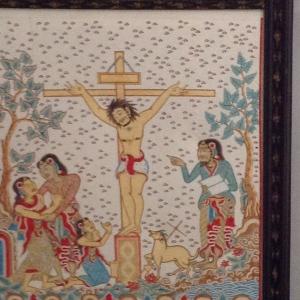 Christ on the Cross rendered in Kamasan village art style