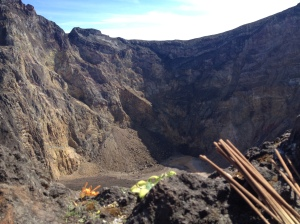 The caldera from the rim with incense for prayers