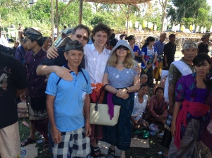Our friends Greg, Esther and Alex with Darmawan's father waiting while the ceremonies go on.