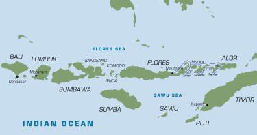 Map of the Indonesian Islands east of Bali