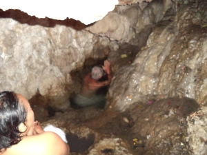 Praying inside the cave to the five sacred directions