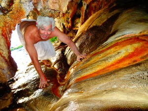 Climbing through Goa Susu (cave milk)