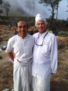 With one of the mangku's (assistant priests)