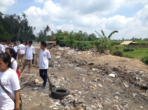 Illegal dump near Ubud.  Garbage has filled a riverbed more than 12 feet high.
