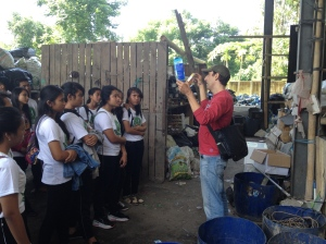 Olivier explaining how Bali Recycling converts plastic to products.