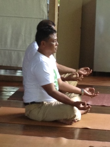 SMAN1 teachers getting into the yoga.