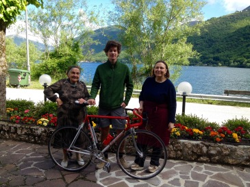 Max with the ladies of Hotel Acquevere before his 74km bike trip